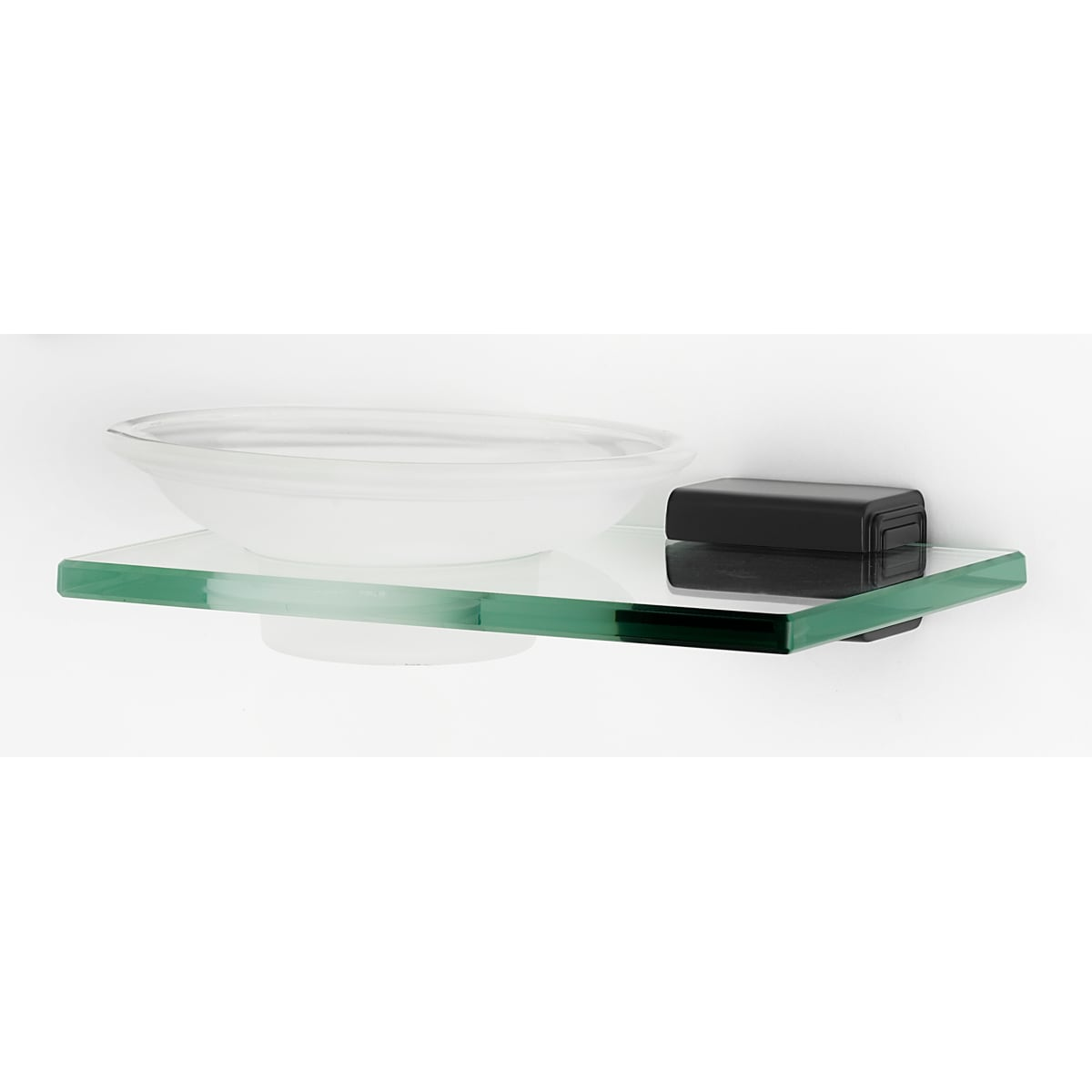 Alno Cube Wall Mounted Glass Soap Dish with Brass Bracket and Glass Shelf