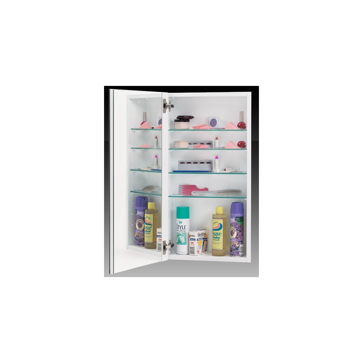 "Alno 1000 Series 15"" x 35"" Single Door Recessed Medicine Cabinet with White Interior with Beveled Mirror"