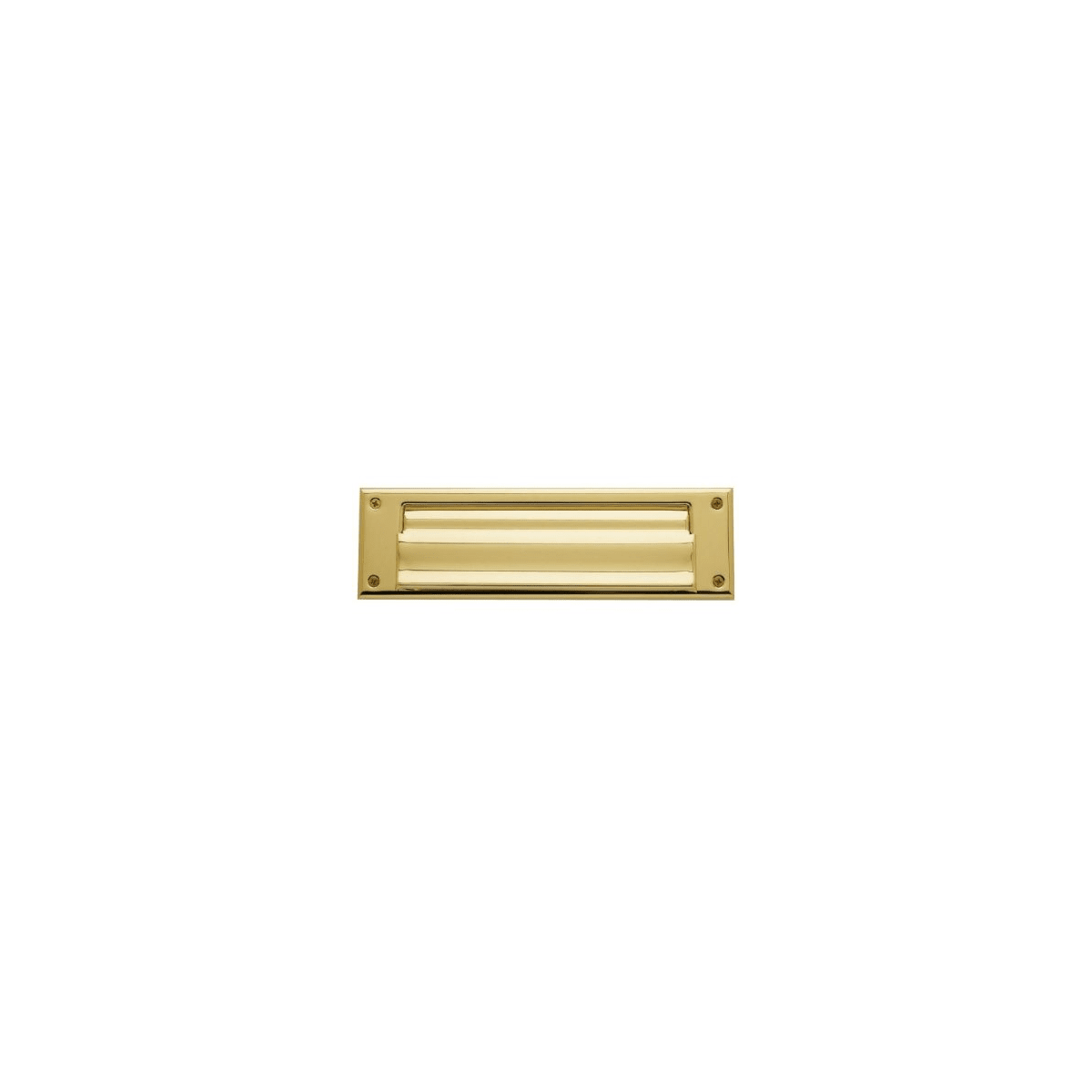 Baldwin Magazine Sized Spring Tension Brass Letter Box Plate with Hinged Interior Cover