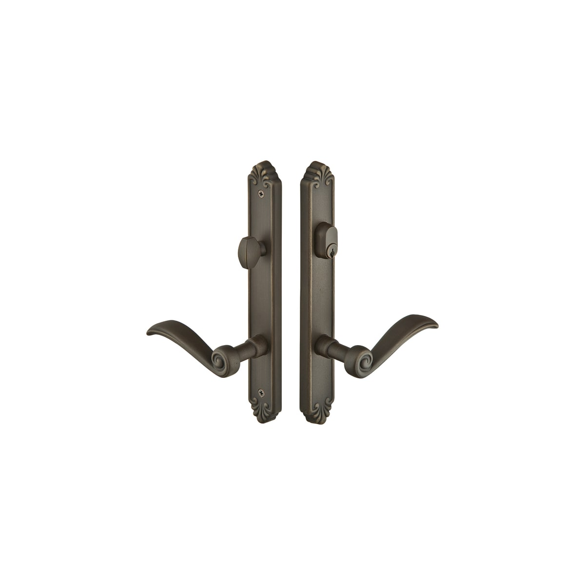 Emtek Lost Wax / Tuscany Bronze Door Configuration 3 Inactive Multi Point Narrow Trim Lever Set with American Cylinder Above Handle