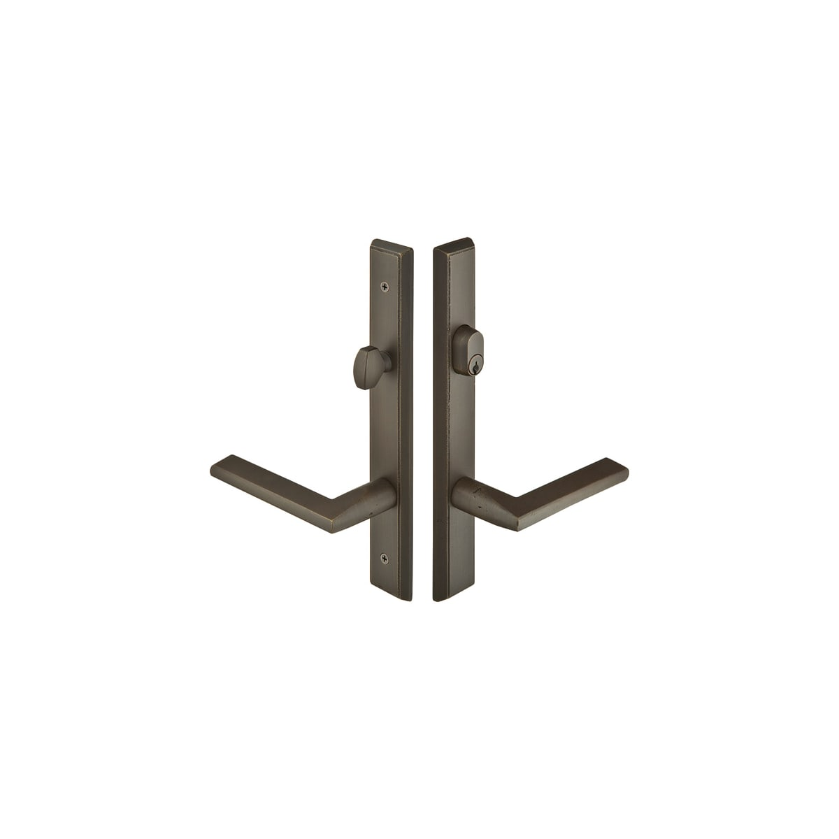 Emtek Sandcast Bronze Door Configuration 3 Inactive Multi Point Narrow Trim Lever Set with American Cylinder Above Handle