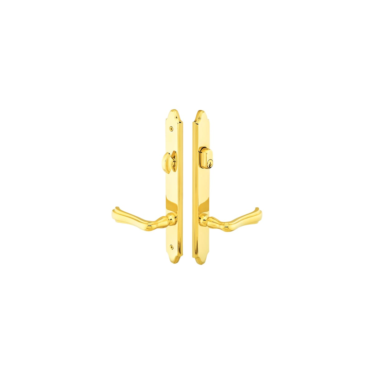 Emtek Classic Brass Door Configuration 3 Keyed Entry Multi Point Narrow Trim Lever Set with American Cylinder Above Handle