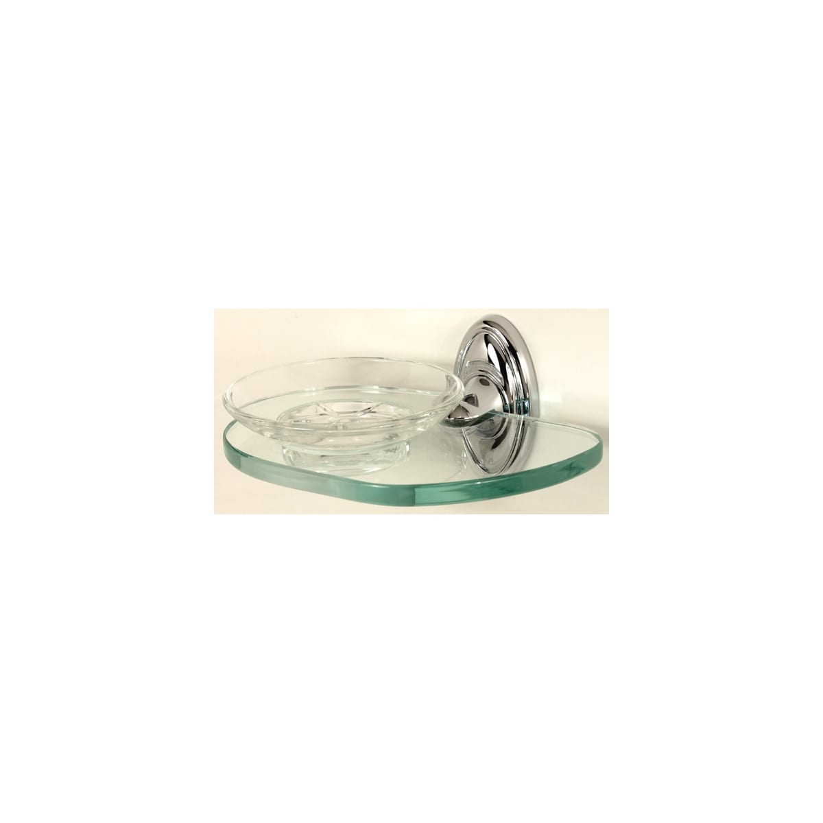 Alno Classic Traditional Wall Mounted Glass Soap Dish with Brass Bracket and Glass Shelf