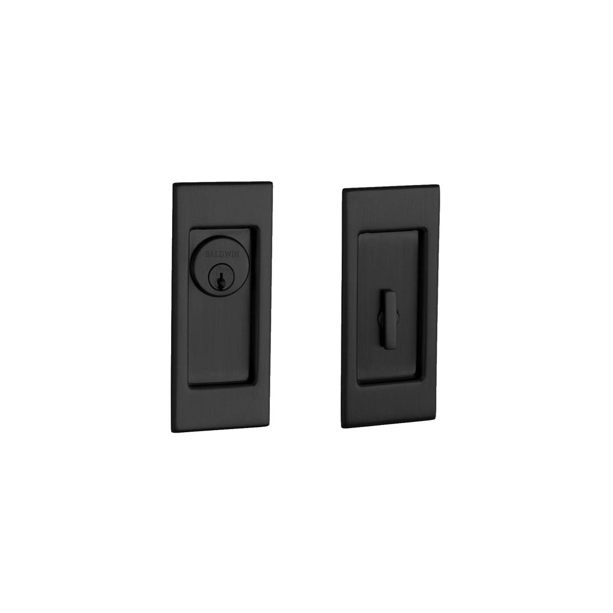 Baldwin Santa Monica Keyed Entry Pocket Door Set with Door Pull from the Estate Collection