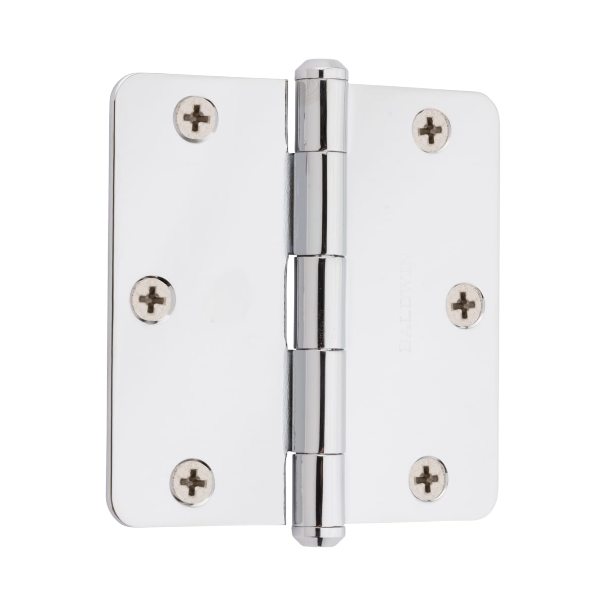 "Baldwin 3.5"" x 3.5"" Solid Brass 1/4"" Radius Corner Plain Bearing Mortise Hinge - Single Hinge"