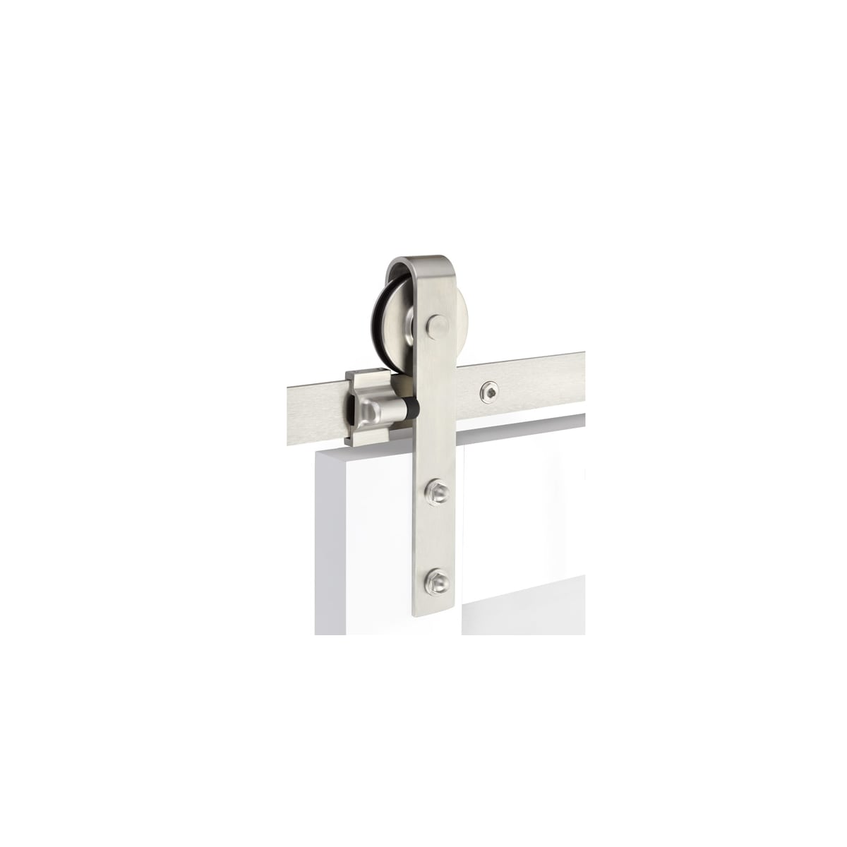 Emtek Classic 96 Inch Face Mount Barn Door Hardware Set - Includes Track, Hangers, and Matching Hardware