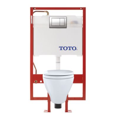 TotoUsa Aquia® Wall-Hung Toilet & DUOFIT In-Wall Tank System, 1.6 GPF & 0.9 GPF, Elongated Bowl - Copper Supply