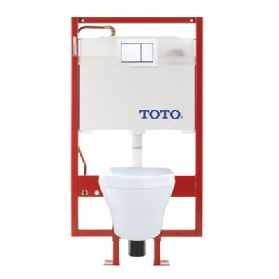 TotoUsa MH Wall-Hung Toilet & DUOFIT In-Wall Tank System, 1.28 GPF & 0.9 GPF, Elongated Bowl - Copper Supply