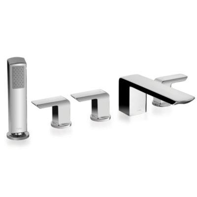 TotoUsa Soirée® Deck-Mount Bath Faucet with Lever Handles, Hand Shower and Diverter Trim