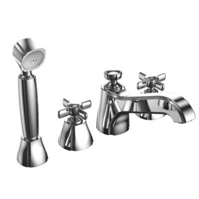 TotoUsa Guinevere® Deck-Mount Bath Faucet with Cross Handles, Handshower and Diverter