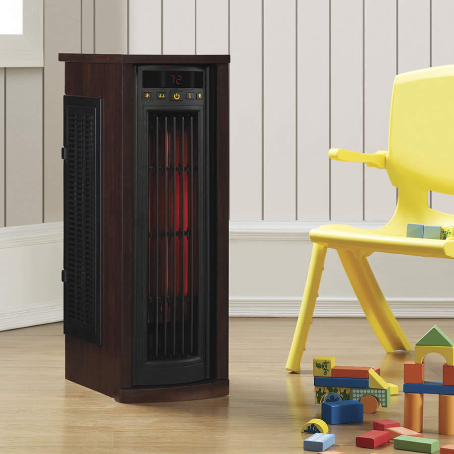 Duraflame Portable Electric Infrared Quartz Oscillating Tower Heater, Engineered Cherry finish
