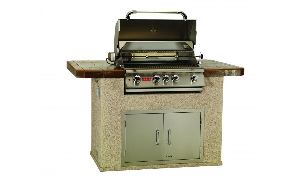Stucco Master Q Island with Open Grill