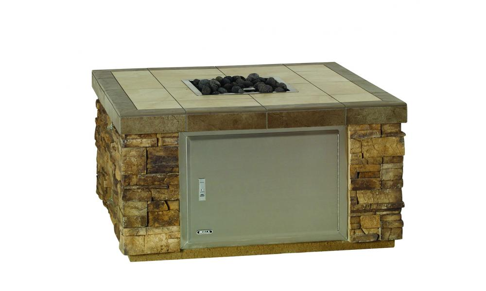 Bull BBQ Stucco Rock Upgrade Square Fire Pit Access door