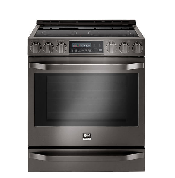 BLACK STAINLESS STEEL ELECTRIC SLIDE-IN RANGE