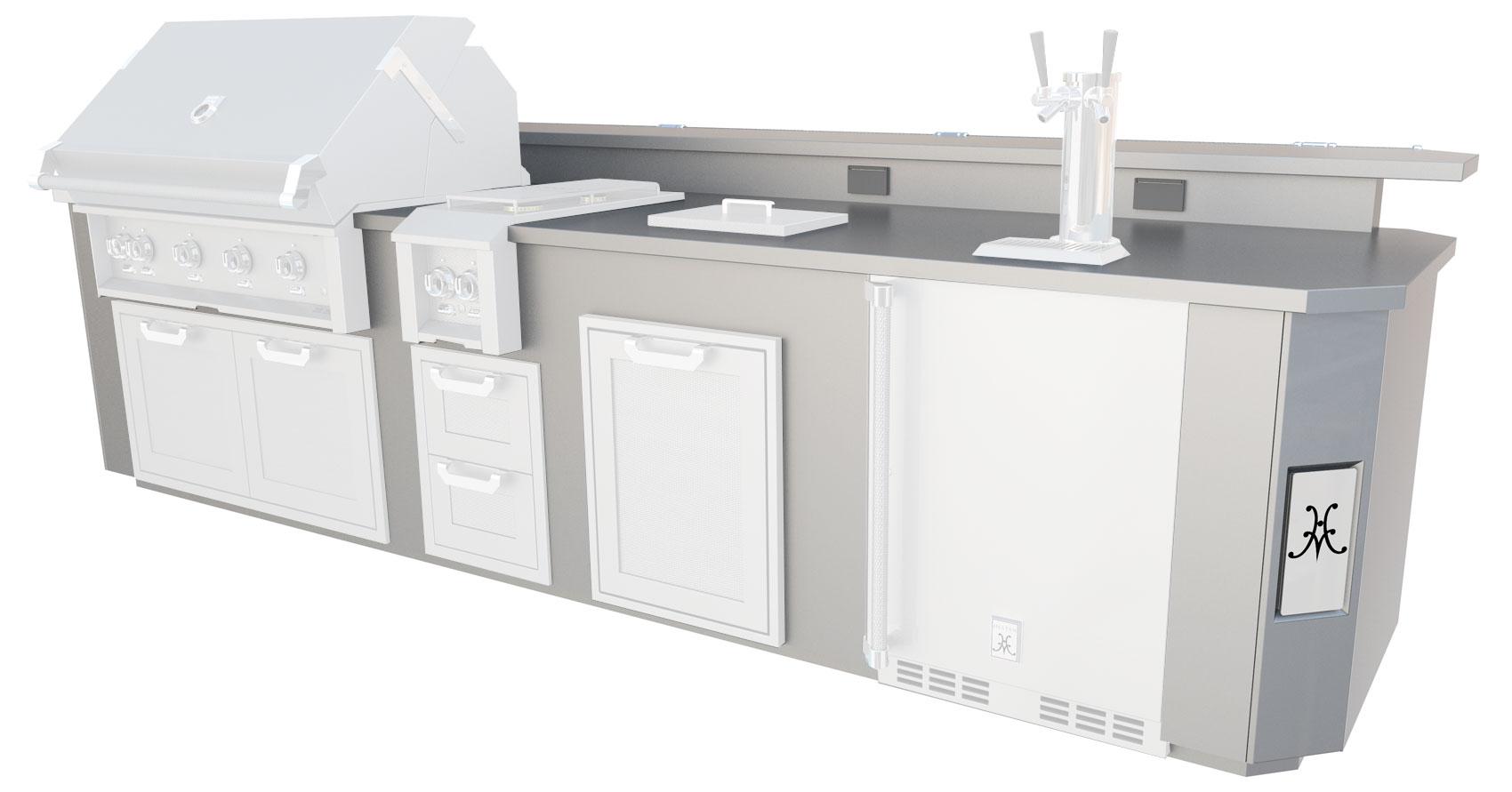 "Model: GESDB12 | Hestan 12"" Cooking Suite with Stainless Steel Top, Bar and Beer Dispenser"