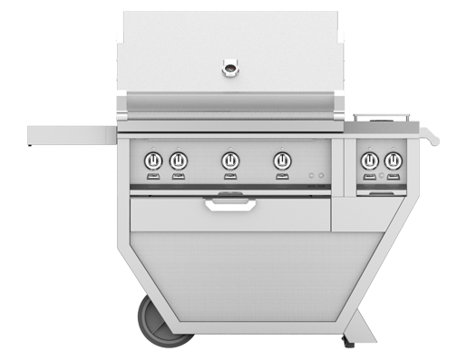 "Hestan 30"" FREESTANDING (ALL TRELLIS BURNERS) DELUXE CART WITH DOUBLE SIDE BURNER"