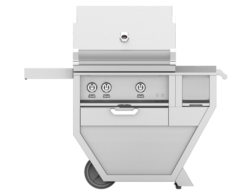 "Model: GMBR36CX2-LP | Hestan 36"" FREESTANDING (SEAR AND TRELLIS BURNERS) DELUXE CART WITH DOUBLE SIDE BURNER"