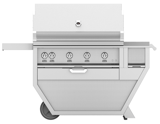 "Hestan 42"" FREESTANDING (SEAR AND TRELLIS BURNERS) DELUXE CART WITH DOUBLE SIDE BURNER"