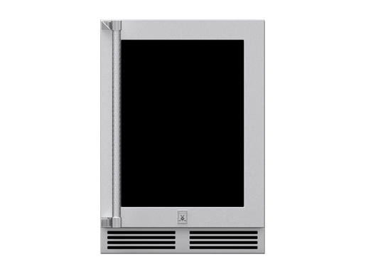 "Hestan 24"" Outdoor Dual Zone Refrigerator w Wine, Glass Door with Lock, Left Hinge Model"