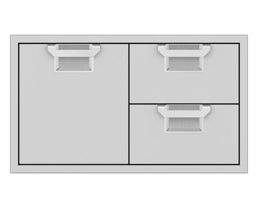 Double Drawer and Storage Door Combination