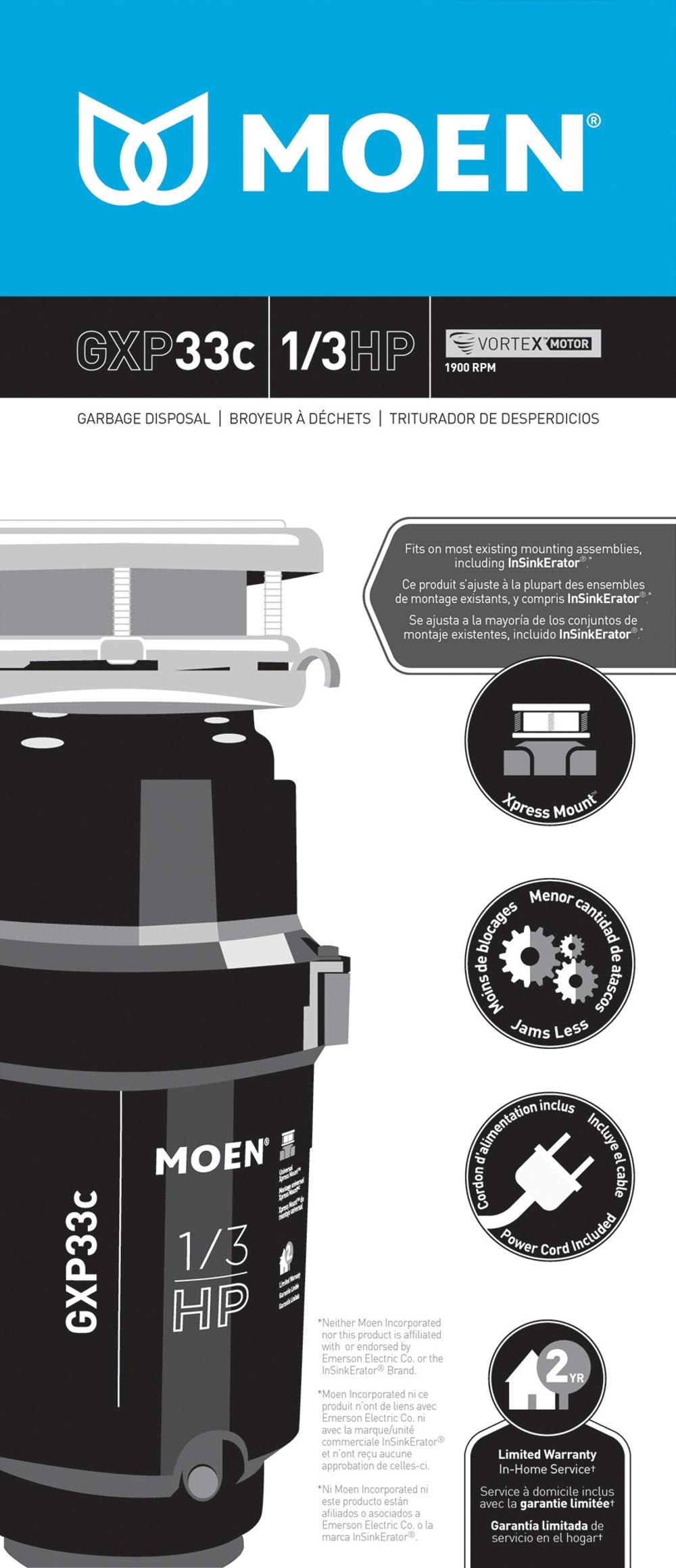 Model: GXP33C | Moen GX PRO Series 1/3 Horsepower Garbage Disposal