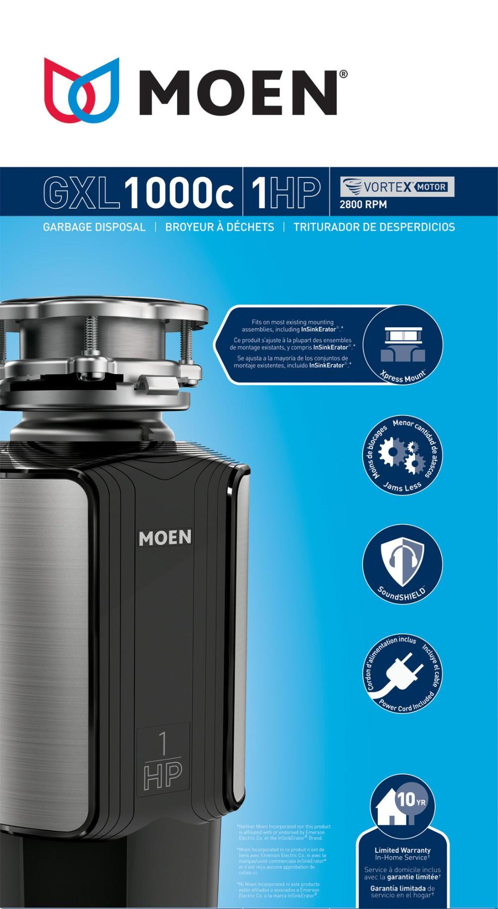 Model: GXL1000C | Moen GX Series 1 Horsepower Garbage Disposal