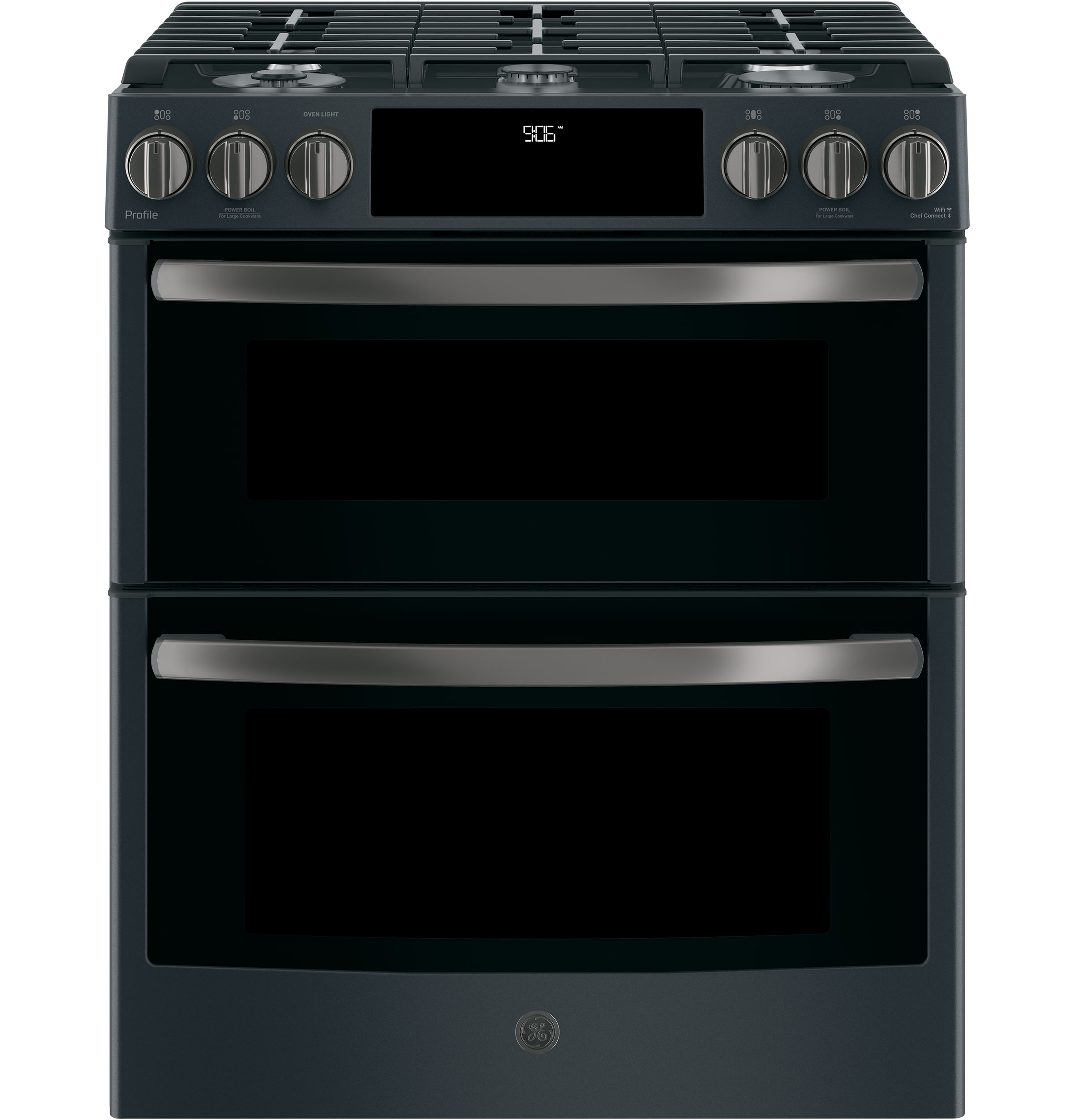 "GE Profile GE Profile™ Series 30"" Slide-In Front Control Gas Double Oven Convection Range"