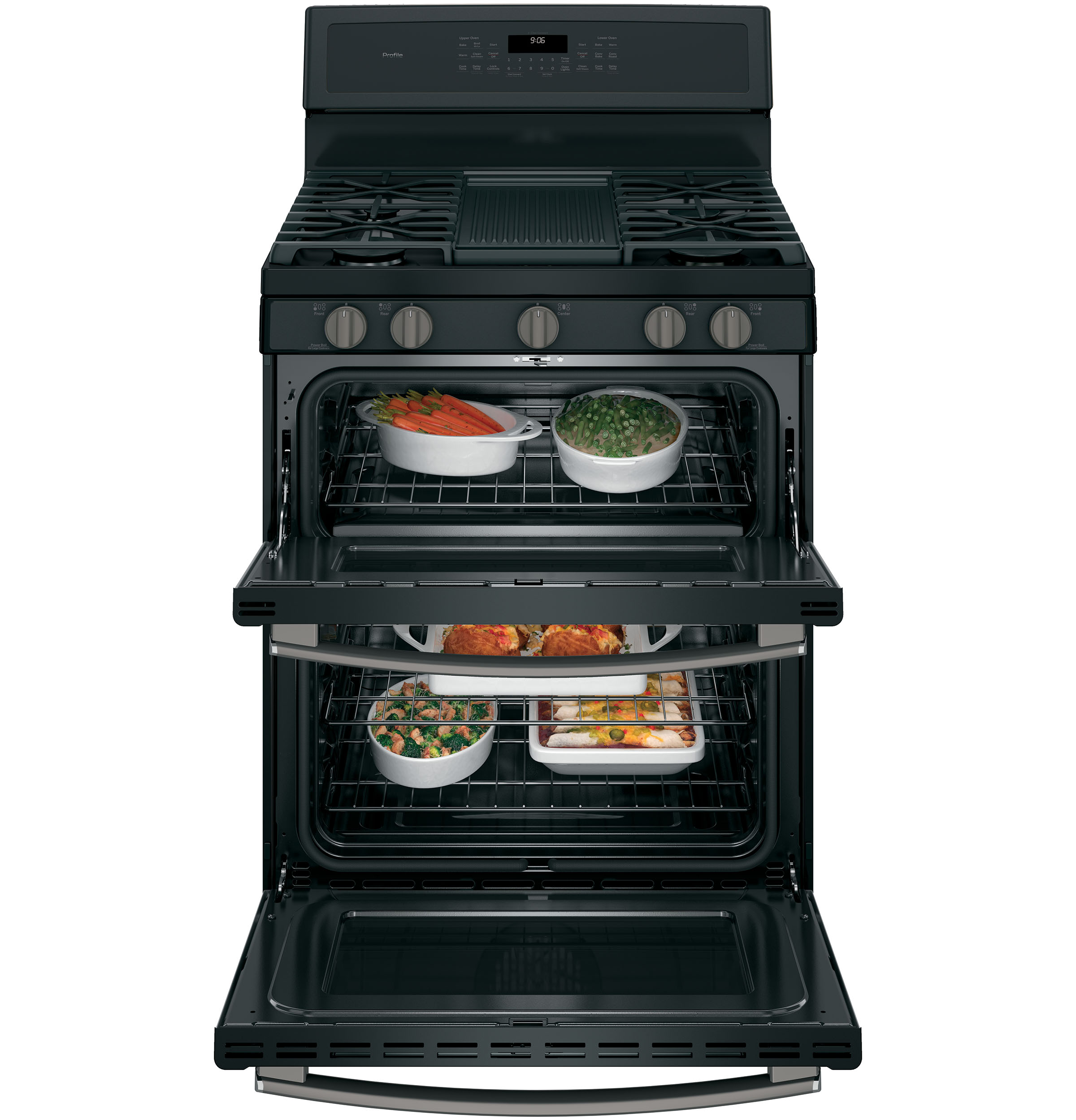 "Model: PGB960FEJDS | GE Profile GE Profile™ Series 30"" Free-Standing Gas Double Oven Convection Range"