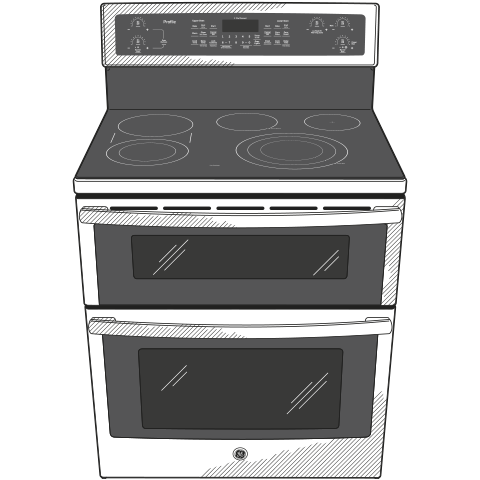 "Model: PB960FJDS | GE Profile GE Profile™ Series 30"" Free-Standing Electric Double Oven Convection Range"