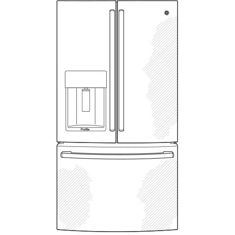 Model: PYE22KELDS | GE Profile™ Series ENERGY STAR® 22.2 Cu. Ft. Counter-Depth French-Door Refrigerator.