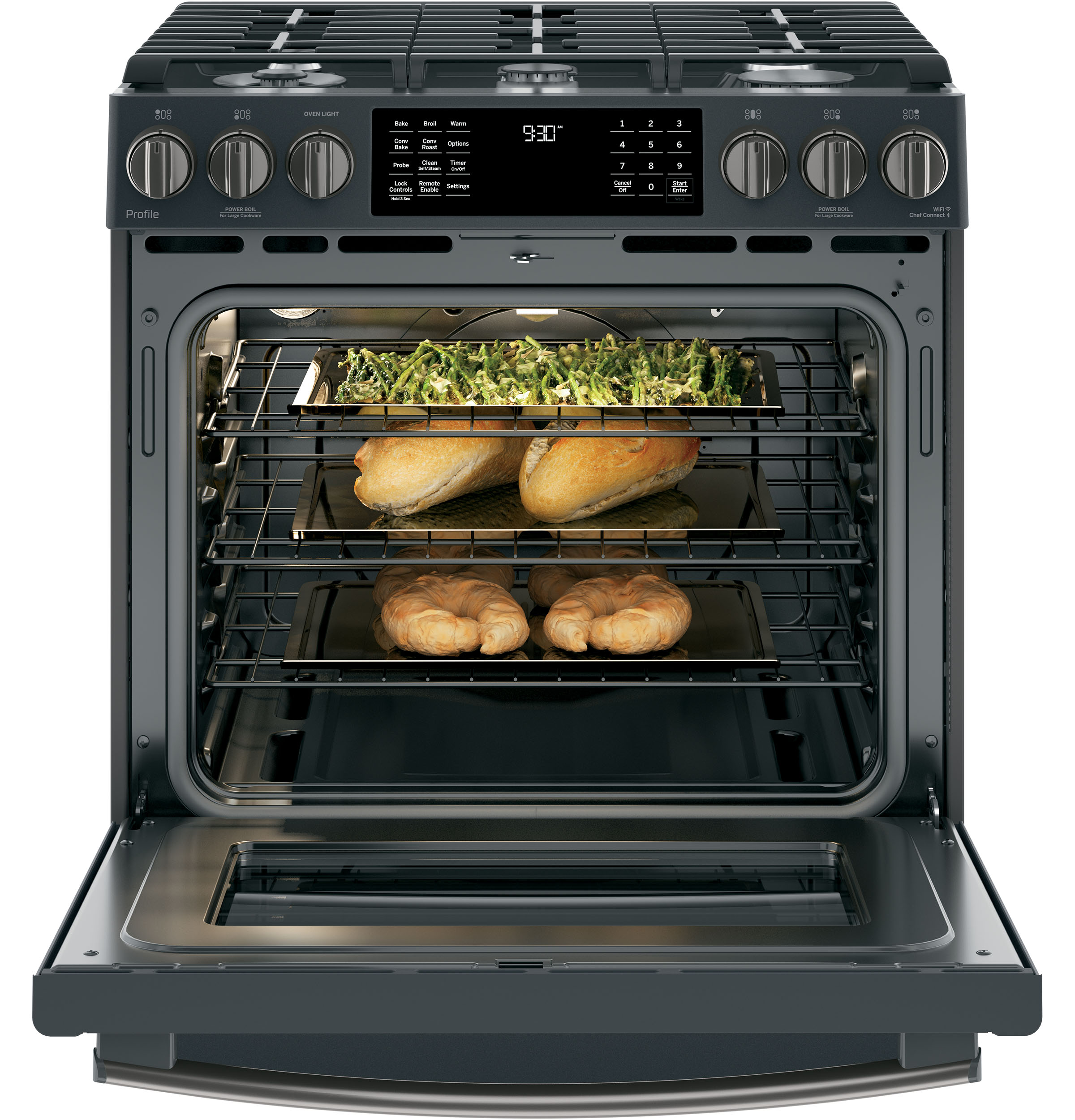 "Model: PGS930FELDS | GE Profile GE Profile™ Series 30"" Slide-In Front Control Gas Range"