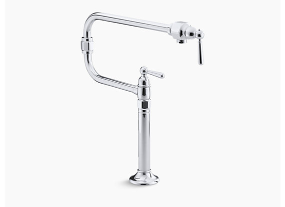 "Kohler  HiRise™   Single-hole deck-mount pot filler kitchen sink faucet with 22"" extended spout and lever handle"