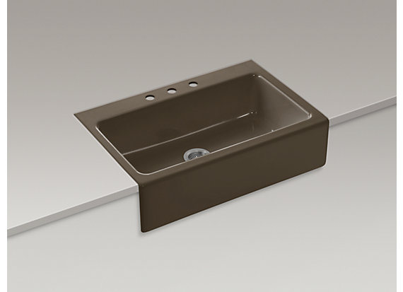 """Kohler Dickinson®   33"""" x 22-1/8"""" x 8-5/8"""" apron-front, tile-in single-bowl kitchen sink with 3 faucet holes"""