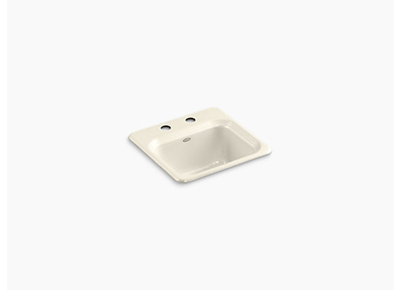 """Kohler Northland™   15"""" x 15"""" x 7-5/8"""" top-mount bar sink with 2 faucet holes"""