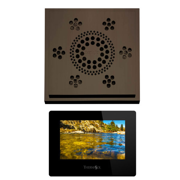 Thermasol Stand Alone Serenity Light, Sound, Rain Head Modern Recessed - Oil Rubbed Bronze