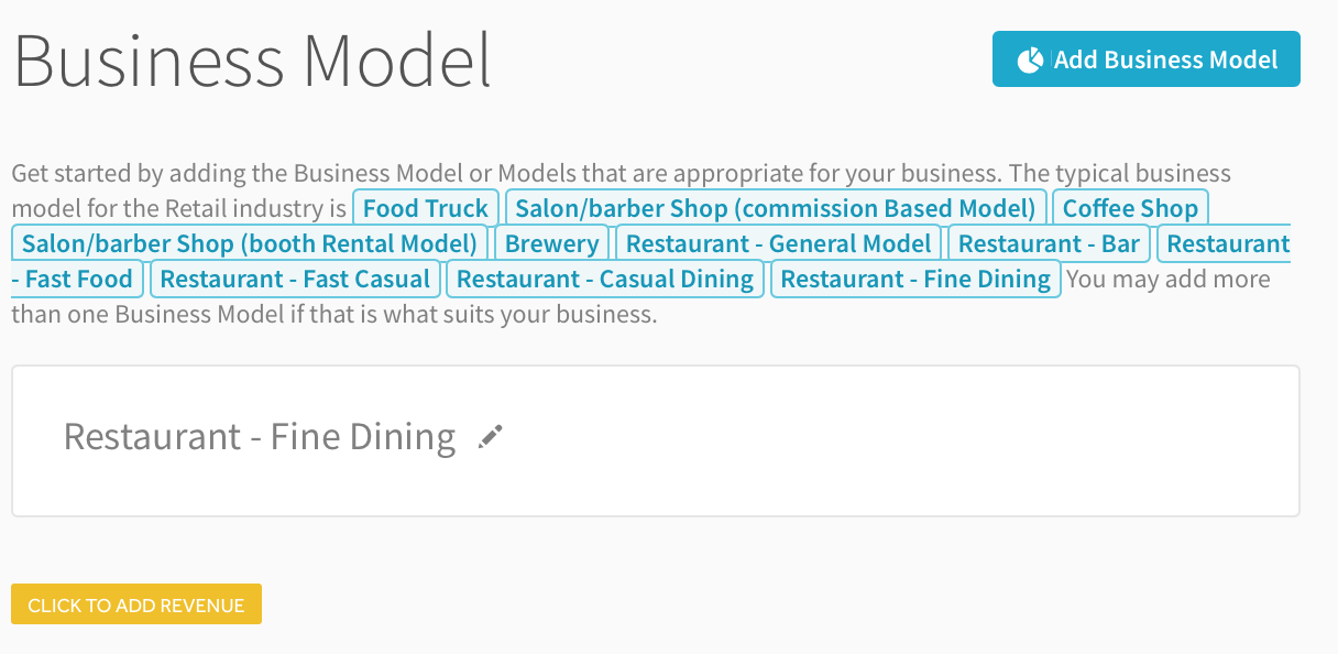 if you dont already see a restaurant business model added on this page you can click the add business model button as seen below to add your first