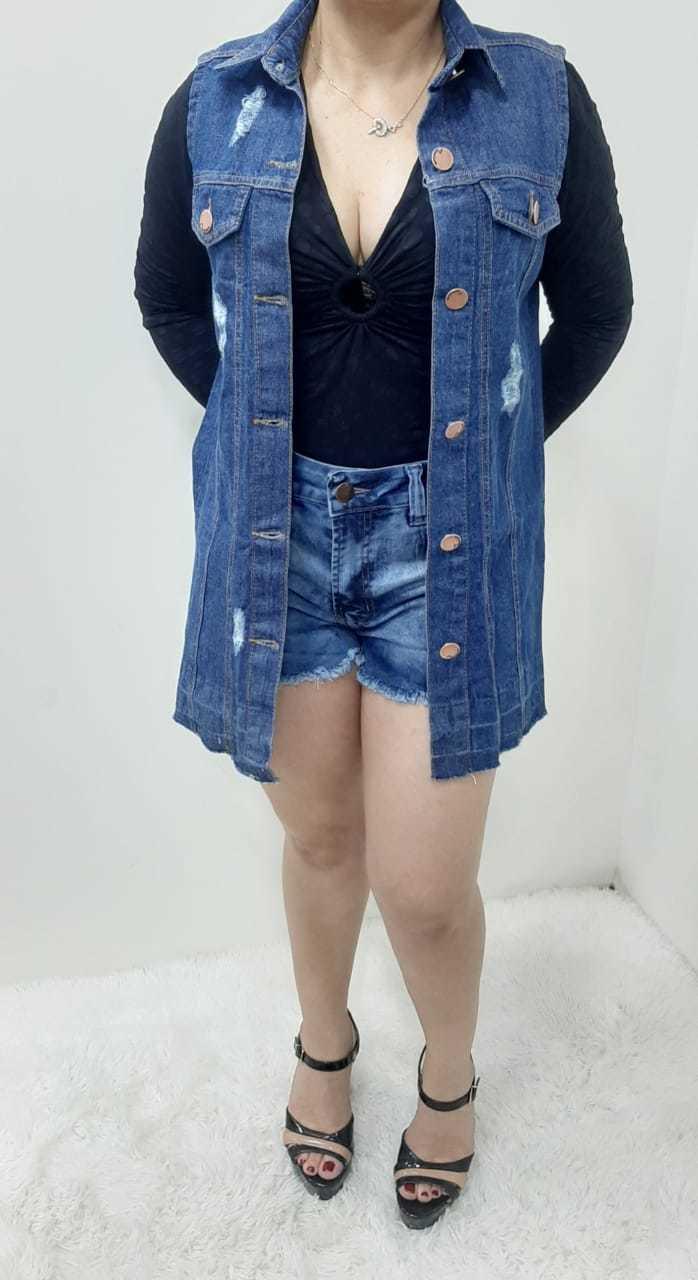 Colete Jeans Feminino Midi Rasgado REF: 352511 | Kit com 6 Peças