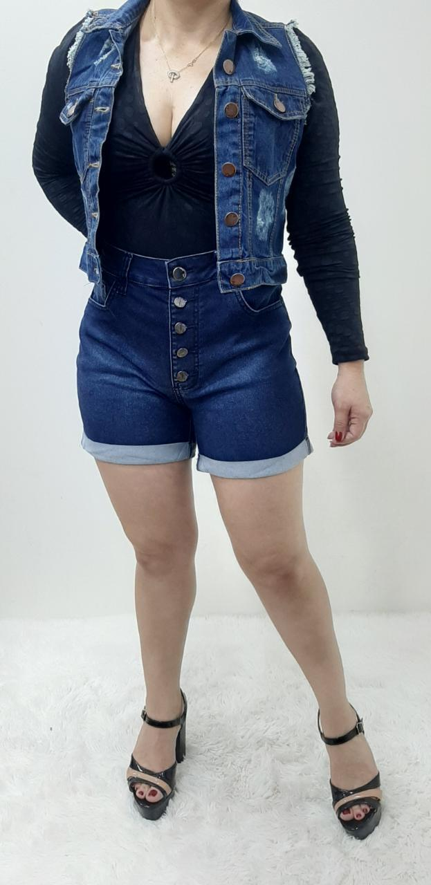 Colete Jeans Feminino Curto Desfiado REF: 1171 | Kit com 6 Peças