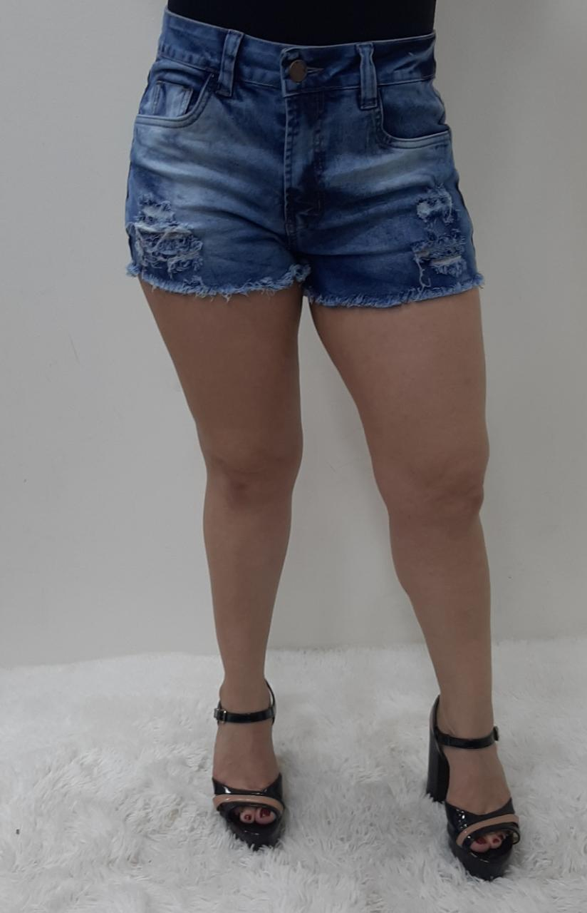 Shorts Jeans Feminino Clochard Barra Desfiada REF 4005 | Kit com 12 Peças