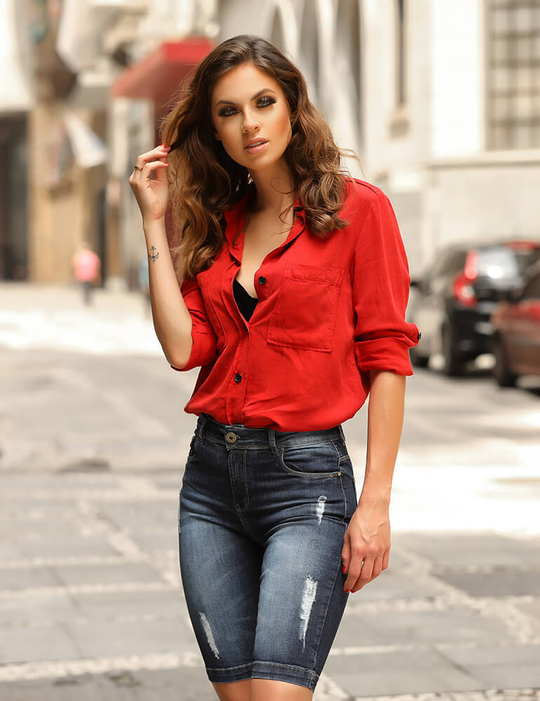 Bermuda Jeans Feminina Fact Jeans ref. 03590