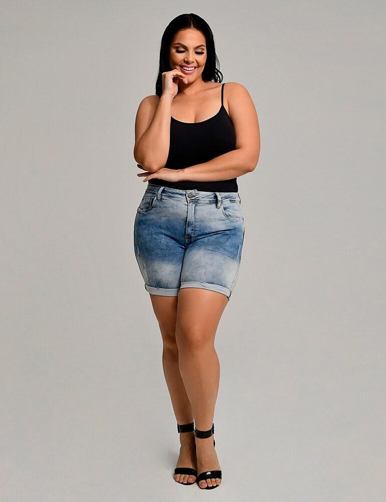 Bermuda Jeans Feminina Meia Coxa Fact Jeans Plus Size ref. 03907