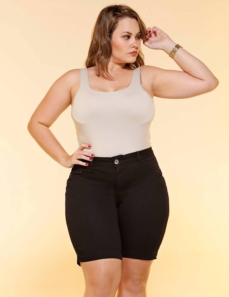 Bermuda Sarja Feminina Ciclista Fact Jeans - Plus Size ref. 04551