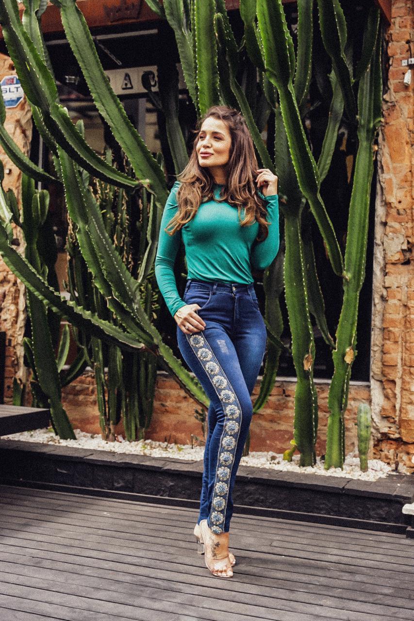 Calça Dinho's Jeans Skinny Aplicação Faixa (2633)