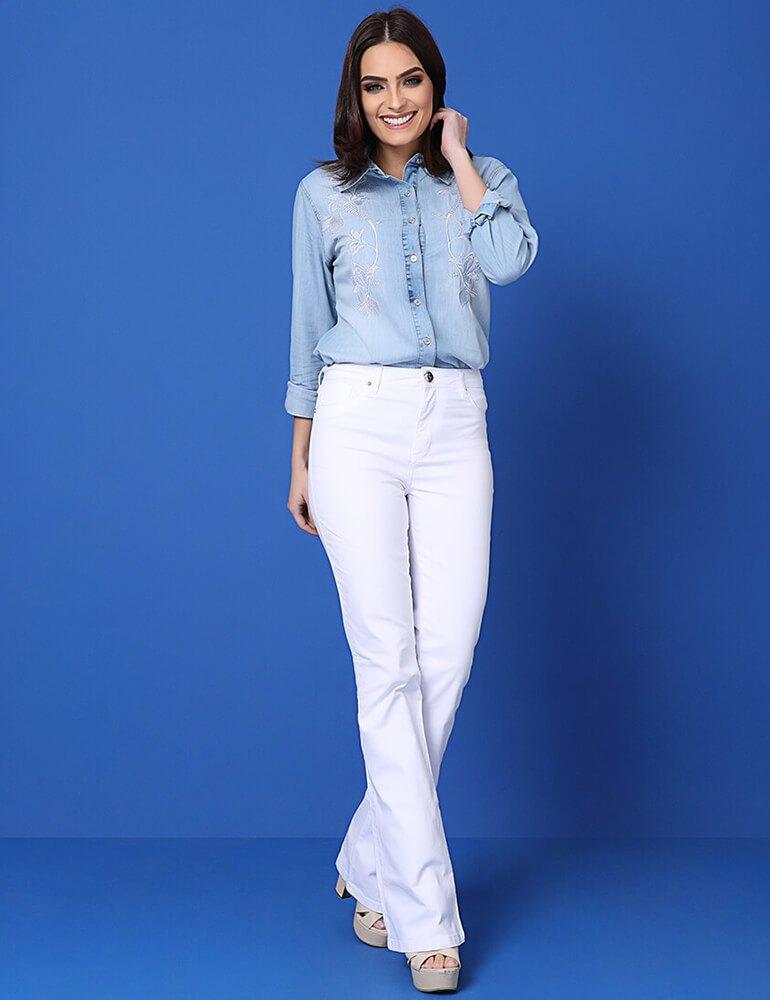 Calça Flare Feminina Fact Jeans - Branca ref. 03746