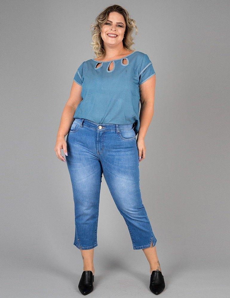 Calça Jeans Capri Feminina Fact Jeans - Plus Size Ref. 03927