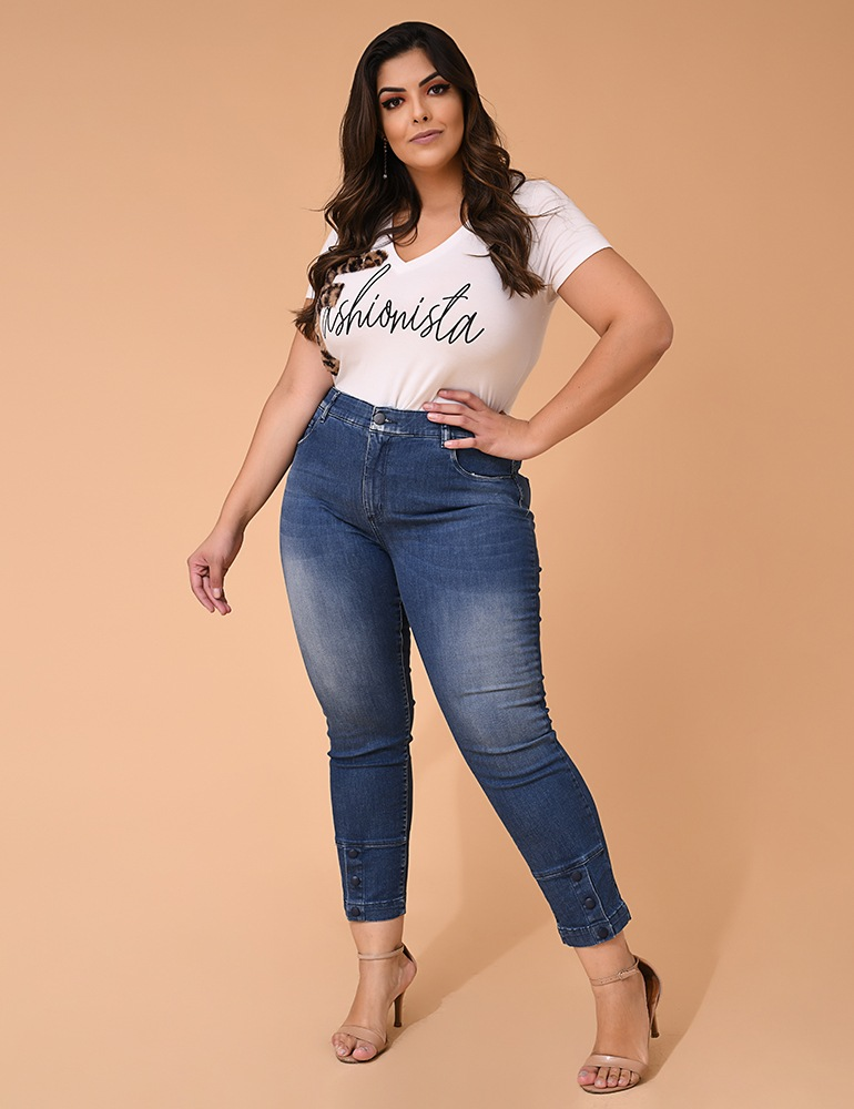 Calça Jeans Cropped Feminina Fact Jeans - Plus Size Ref. 03972