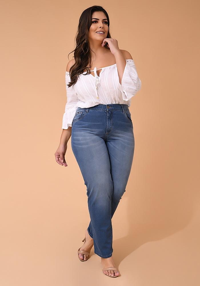 Calça Jeans Reta Feminina Fact Jeans - Plus Size Ref. 04117