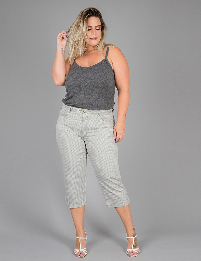 Calça Sarja Capri Feminina Fact Jeans - Plus Size Ref. 04023