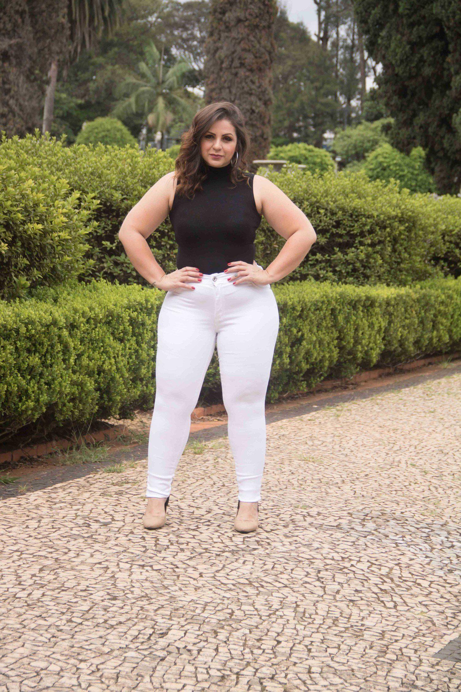Calça Skinny Branca Plus Size (2490)