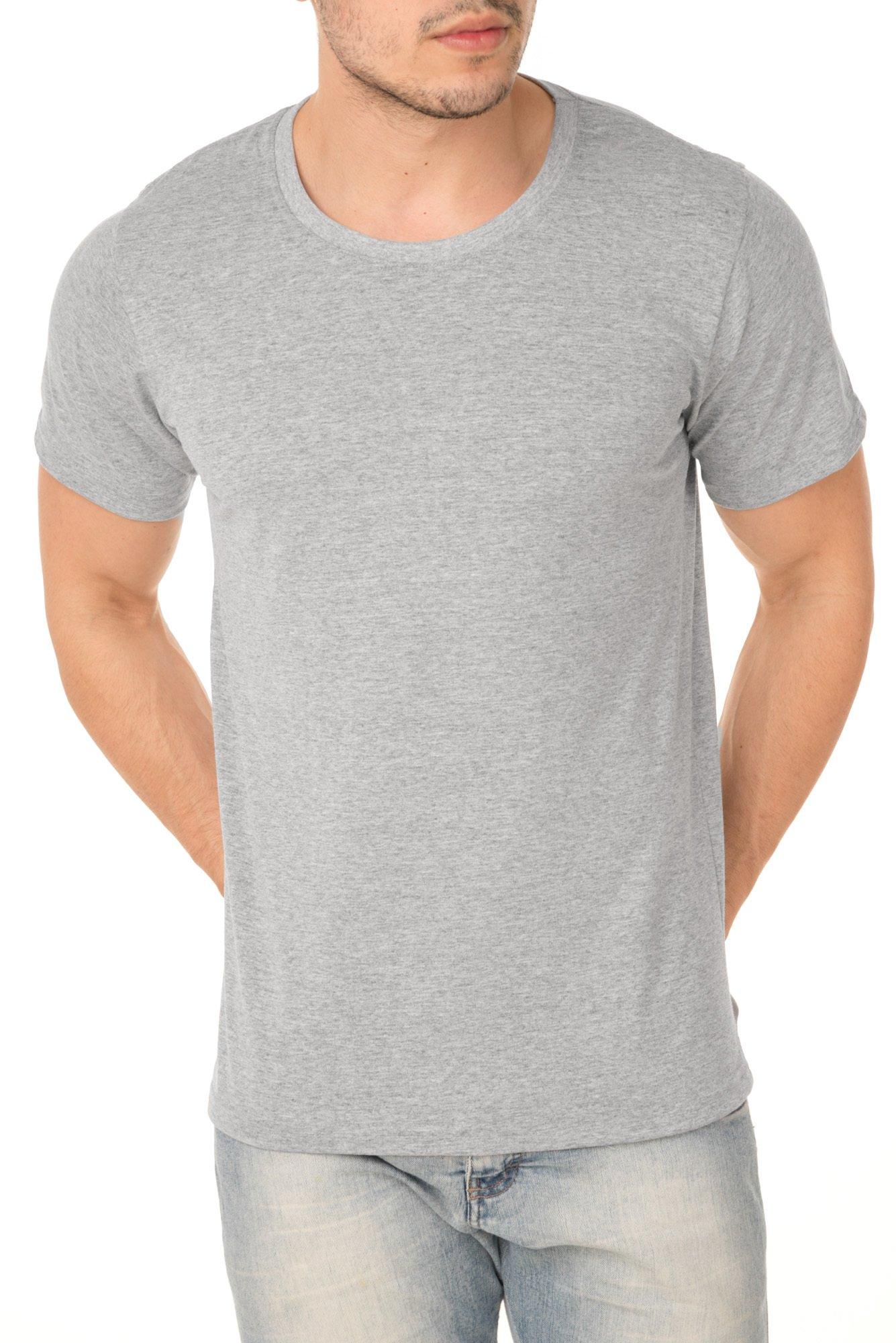 Camiseta de Algodão Cinza Mescla